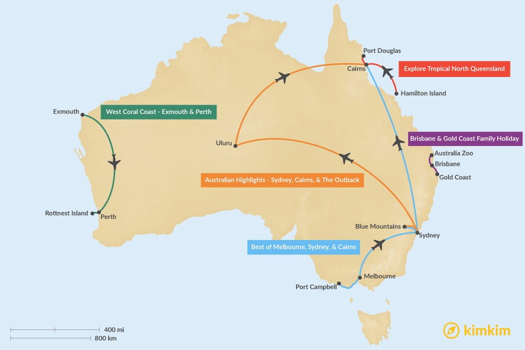 Map of 7 Days in Australia - 5 Unique Itinerary Ideas