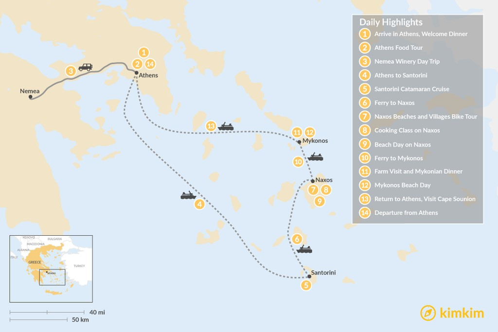 Map of Relaxed Athens, Santorini, Naxos & Mykonos - 14 Days