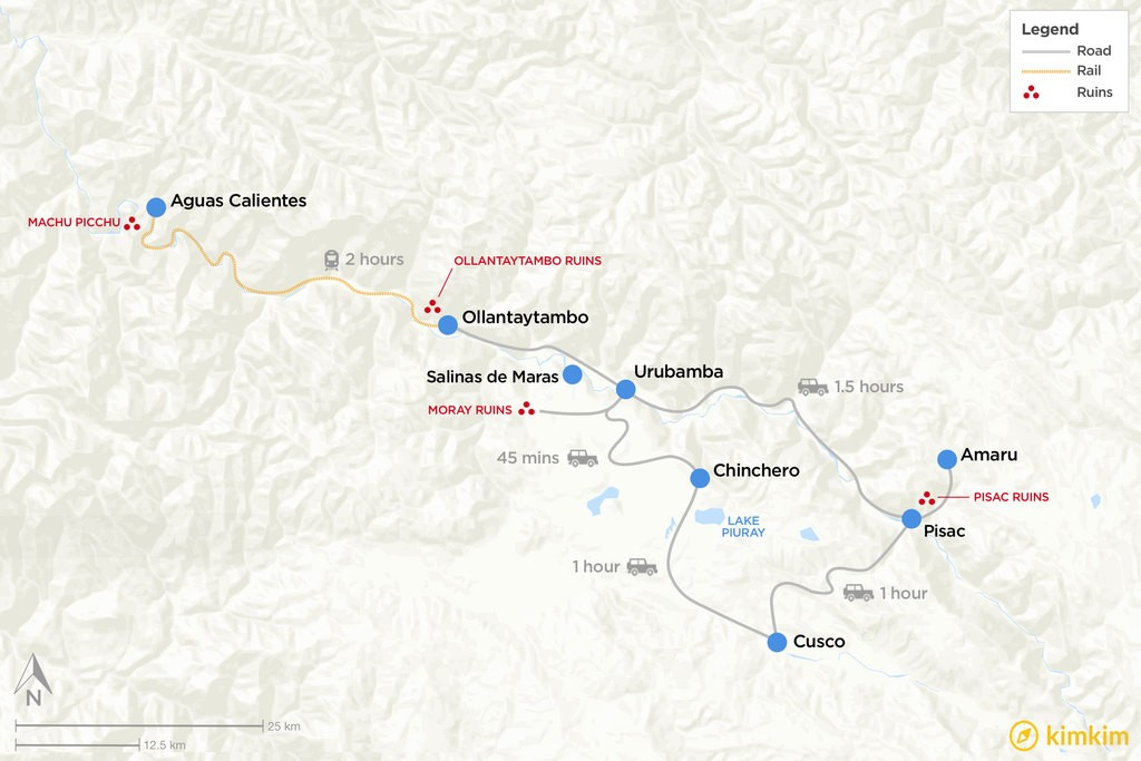 Map of Cultural Highlights of the Sacred Valley