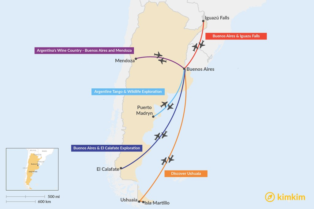 Map of 6 Days in Argentina - 5 Unique Itinerary Ideas