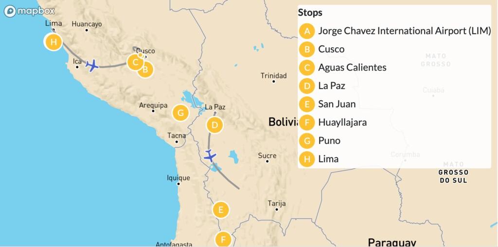 Map of Perú & Bolivia Highlights: Machu Picchu, Titicaca Lake & Uyuni Salt Flats - 10 Days