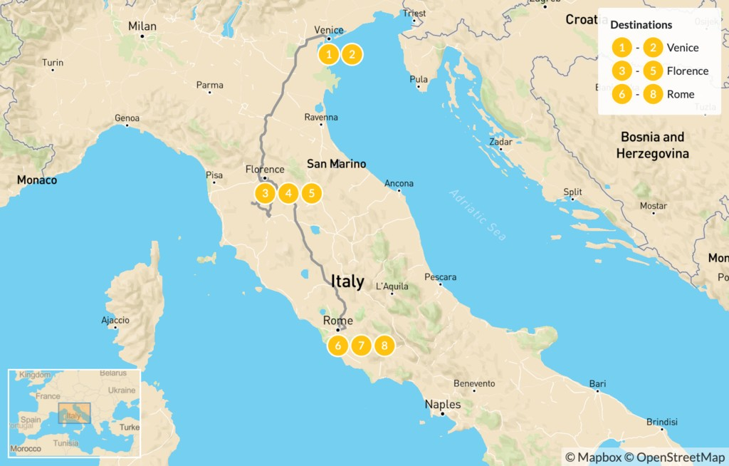 Map of Discover Venice, Florence & Rome - 9 Days