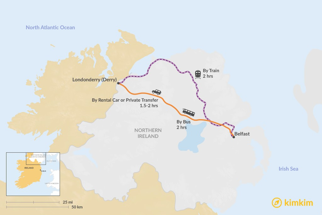 Map of How to Get from Belfast to Londonderry (Derry)