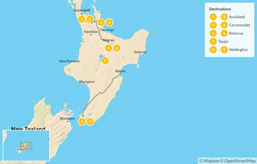 Map of New Zealand: North Island Family Adventure - 10 Days