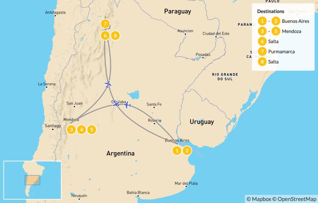 Map of Classic Argentina: Buenos Aires, Mendoza, & Salta - 9 Days
