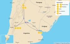 Map thumbnail of Classic Argentina: Buenos Aires, Mendoza, & Salta - 9 Days