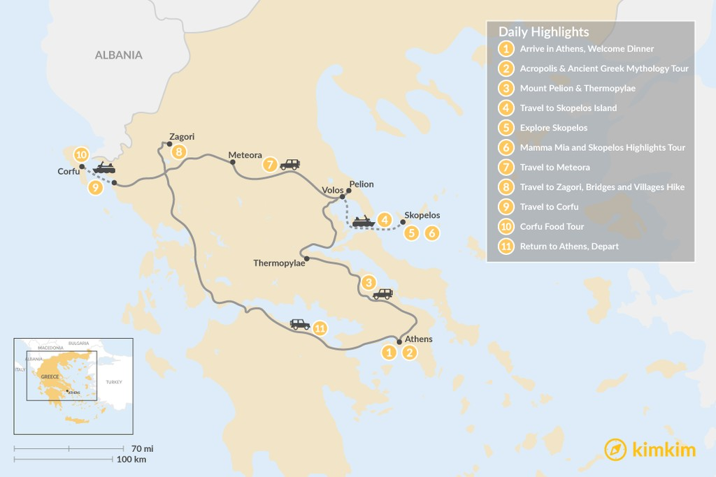 Map of Central Greece, Skopelos & Corfu Exploration - 11 Days