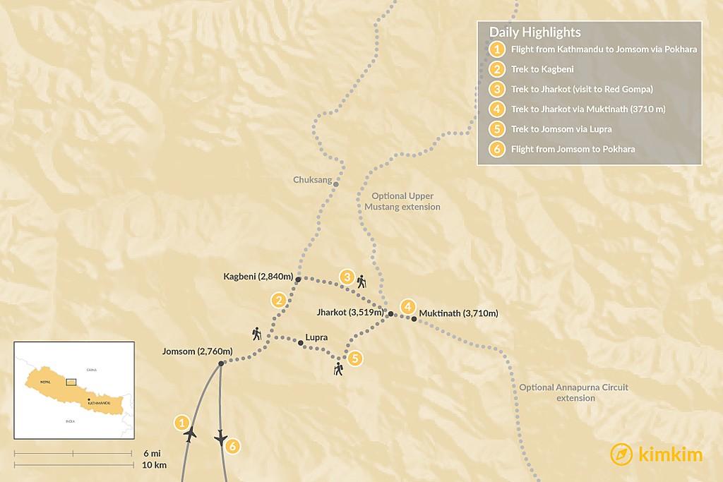 Map of Lower Mustang Trek - 9 Days
