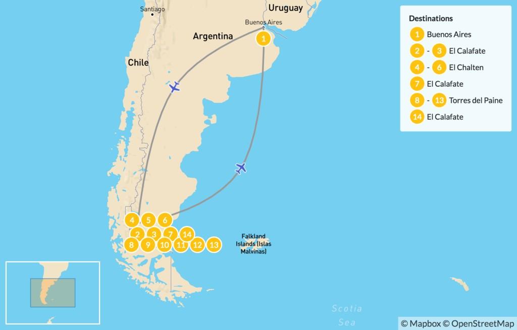 Map of Trekking in Chilean & Argentine Patagonia - 15 Days