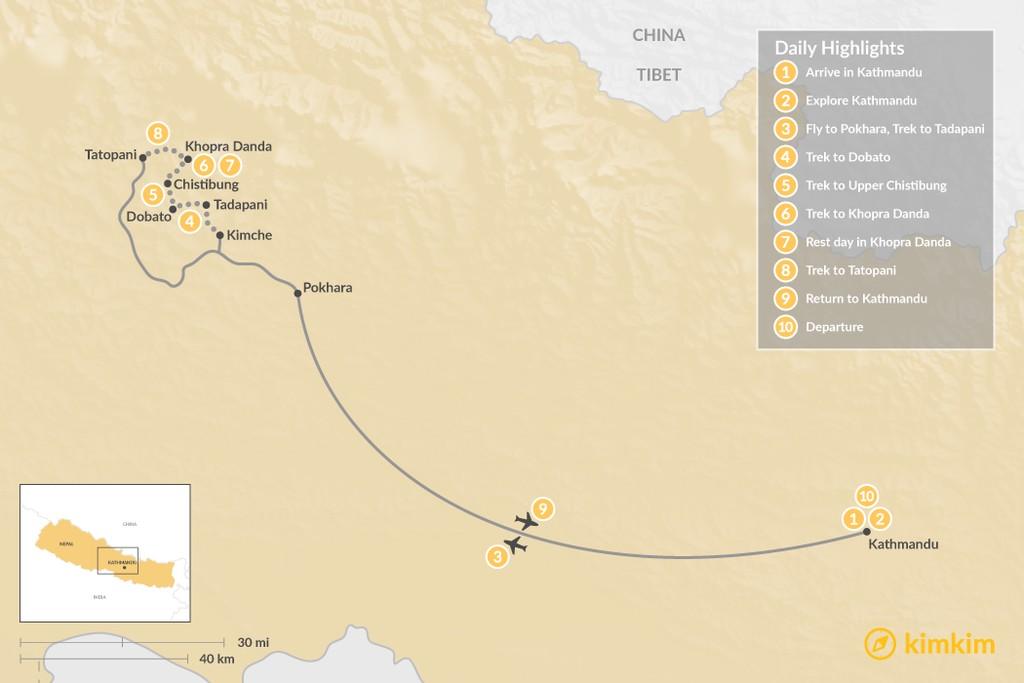 Map of Khopra Danda Trek with Kaire Lake  - 10 Days