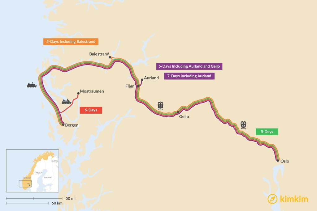 Map of Oslo & Bergen: Best Itinerary Ideas