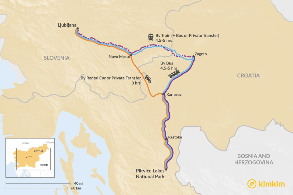 Map of How to Get from Ljubljana to Plitvice Lakes National Park