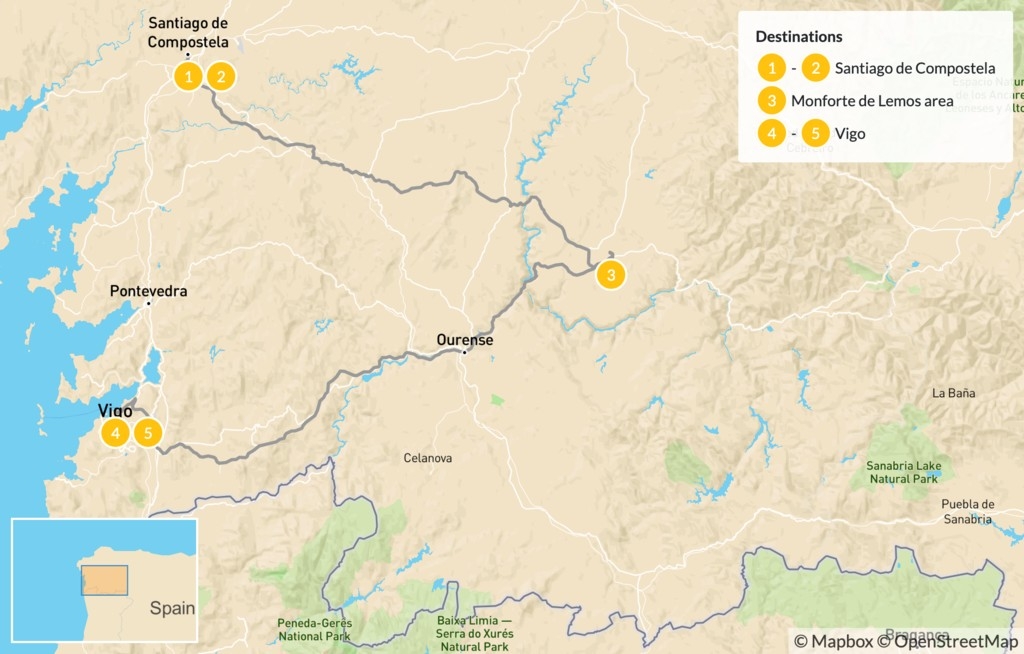 Map of Ultimate Tour of Galicia: Santiago de Compostela, Lugo, & Vigo - 6 Days