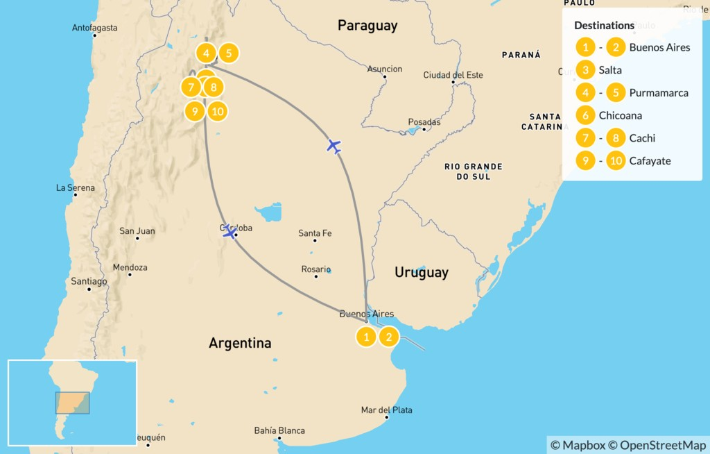Map of Buenos Aires & Salta Adventure - 11 Days