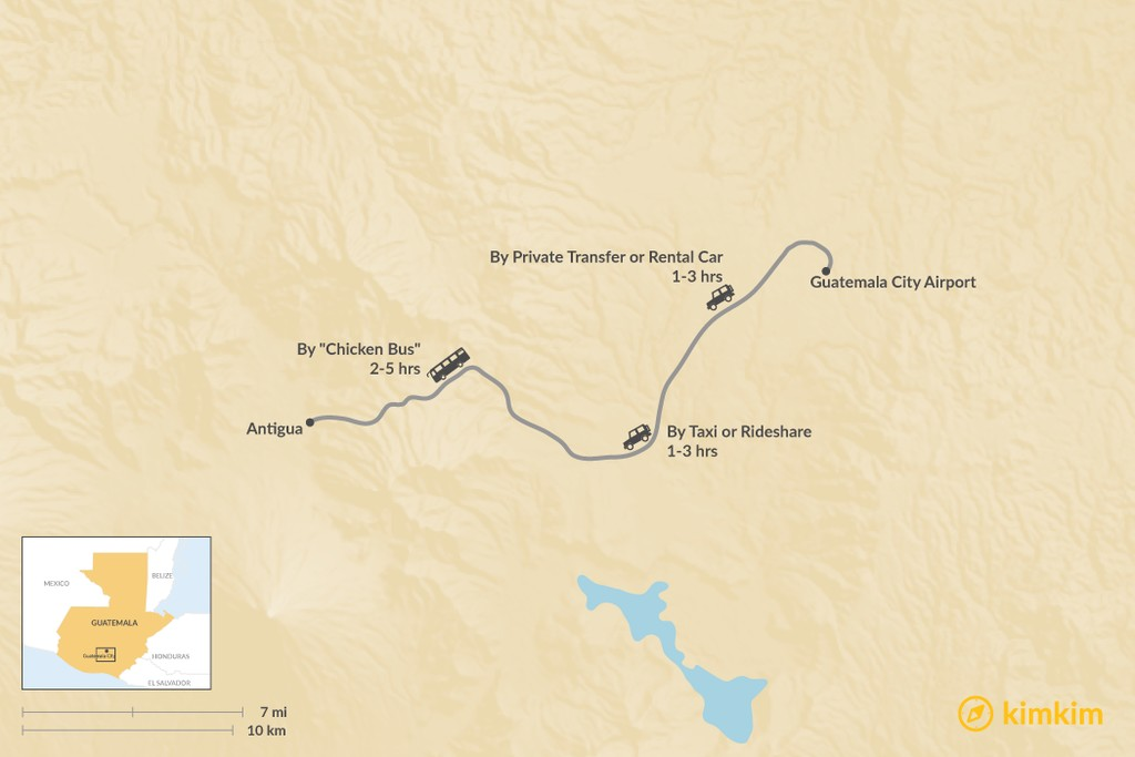 Map of How to Get from Guatemala City Airport (GUA) to Antigua
