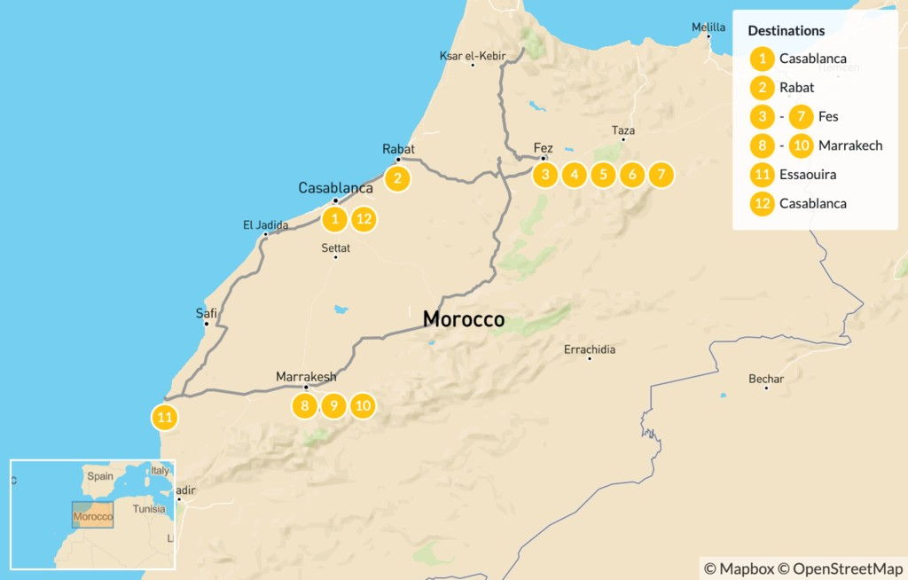 Map of Discover Morocco: Imperial Cities to the Atlas Mountains and the Coast - 13 Days