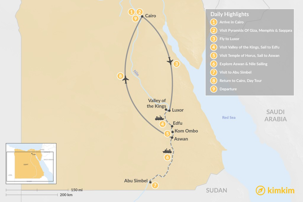 Map of Luxury Egypt: Cairo, Luxor, Aswan, & More - 9 Days