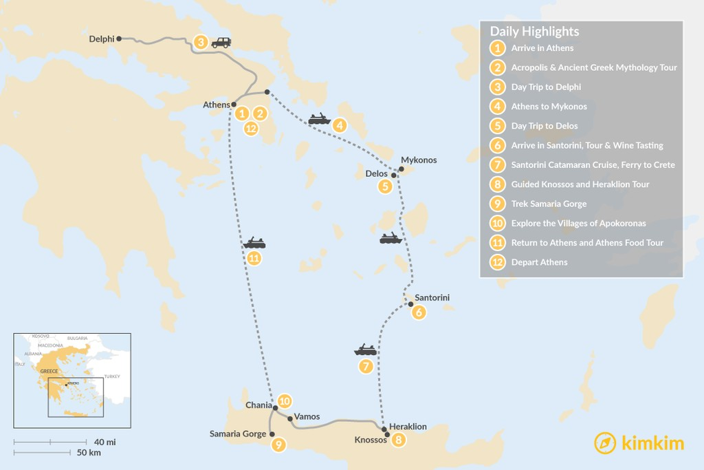 Map of Discover Athens, Mykonos, Santorini, and Crete - 12 Days