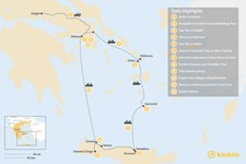 Map thumbnail of Discover Athens, Mykonos, Santorini, and Crete - 12 Days