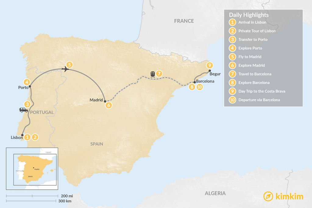 Map of Highlights of Spain & Portugal: Cities, Beaches, & Culture - 10 Days