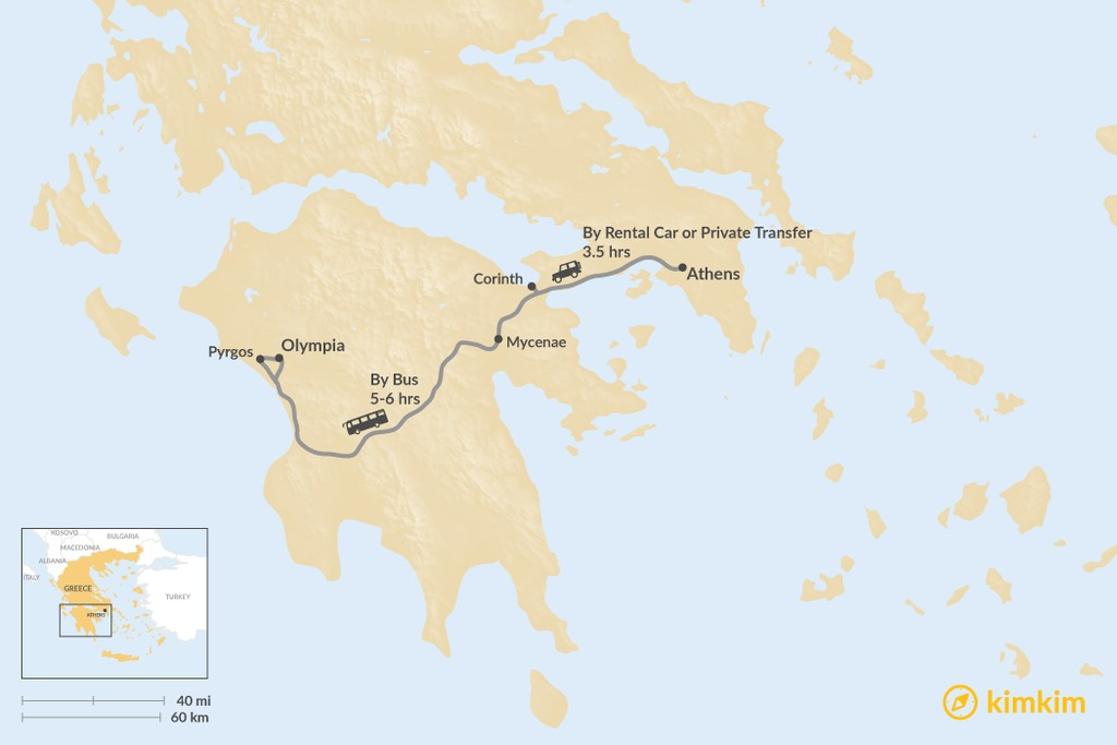 Map of How to Get from Athens to Olympia