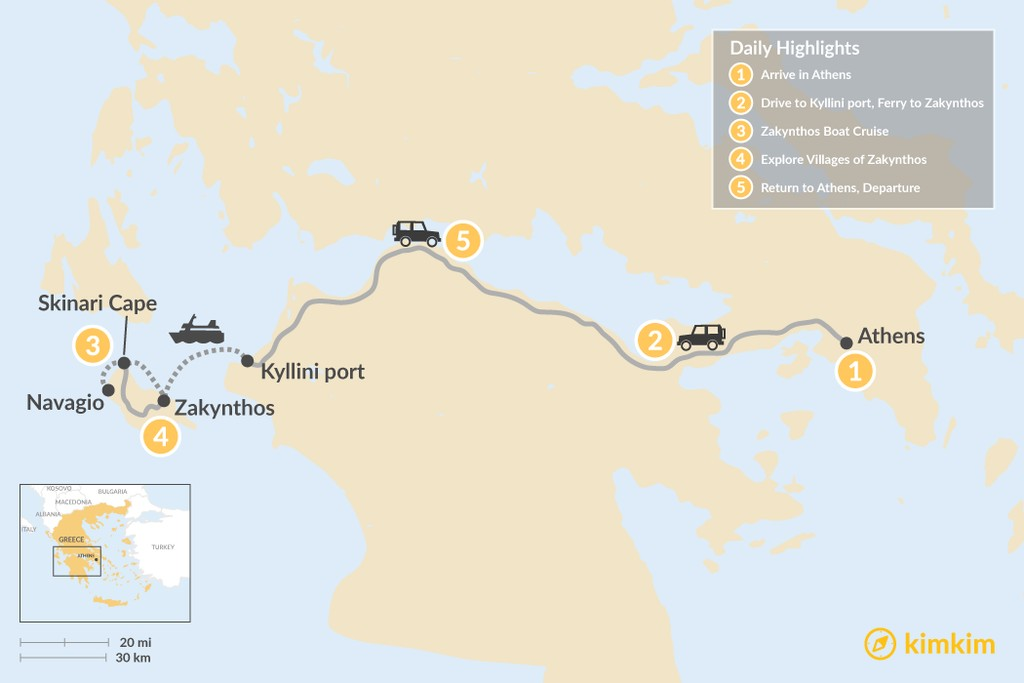 Map of Explore Zakynthos Island - 5 Days