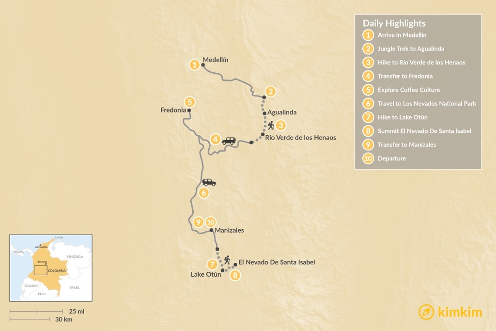 Map of Coffee Country and Trekking Los Nevados - 10 Days
