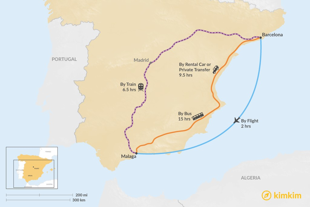 Map of How to Get from Barcelona to Malaga