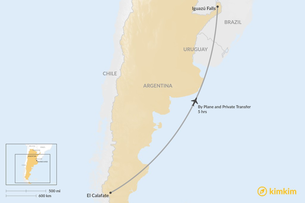 Map of How to Get from El Calafate to Iguazú Falls