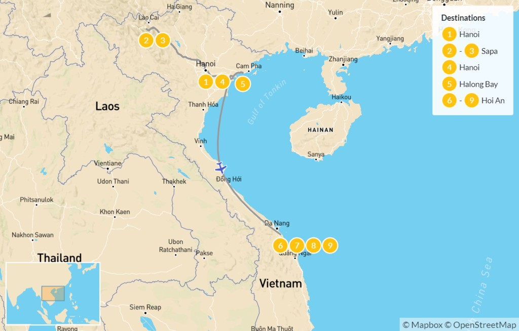Map of Honeymoon in Northern Vietnam: From Hanoi to Hoi An - 10 Days