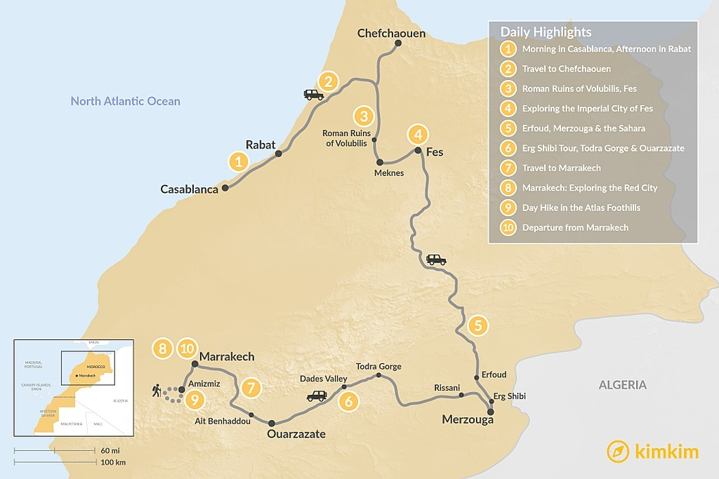 Map of Casablanca to Marrakech: Imperial Cities, Hiking & the Desert - 10 Days