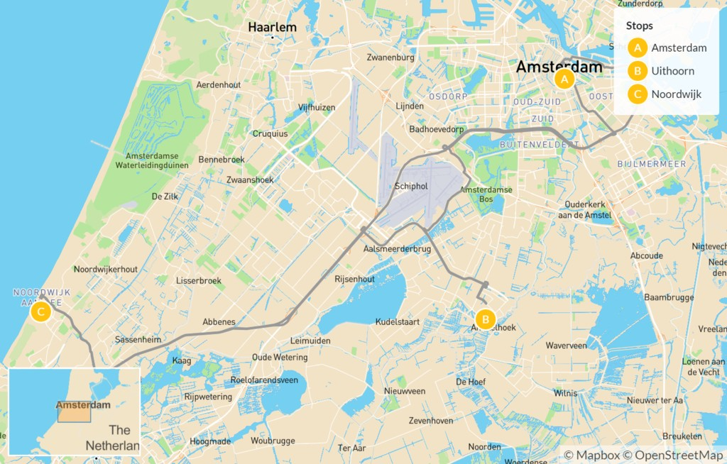 Map of Flower Tour of Holland - 5 Days