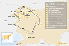 Map thumbnail of Slovenia Alpine Adventure: Triglav, Lake Bled, and the Soča Valley - 13 Days