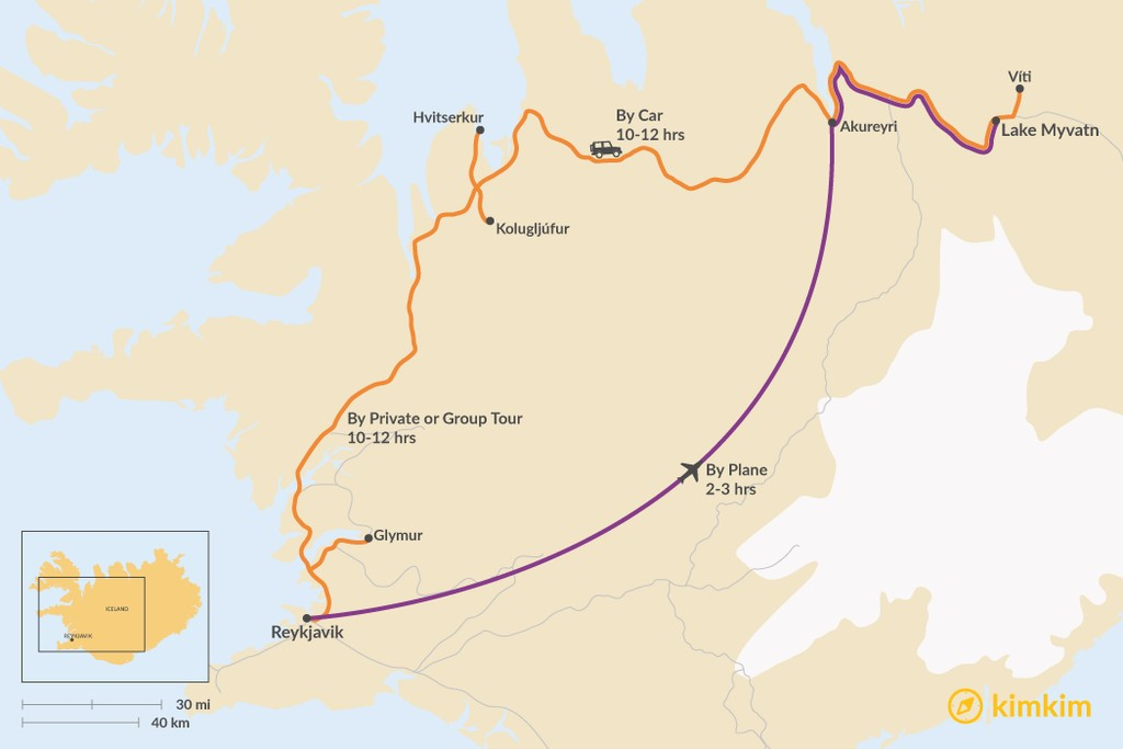 Map of How to Get from Reykjavik to Lake Myvatn