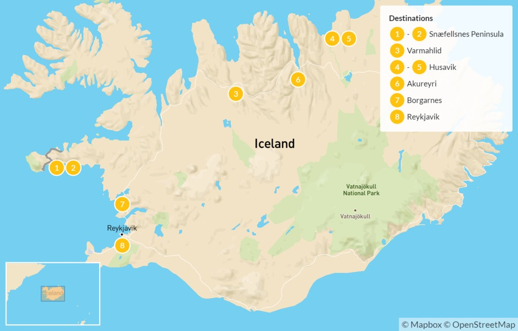 Map of Iceland Summer Escape: West & North Iceland - 9 Days