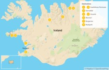 Map thumbnail of Iceland Summer Escape: West & North Iceland - 9 Days