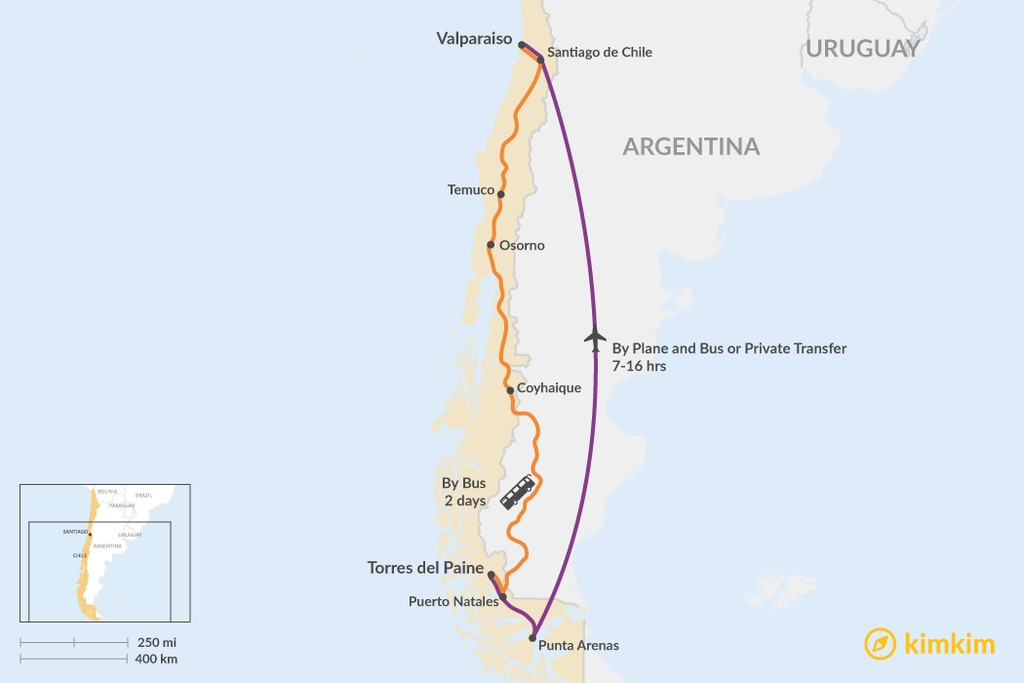 Map of How to Get from Torres del Paine to Valparaíso