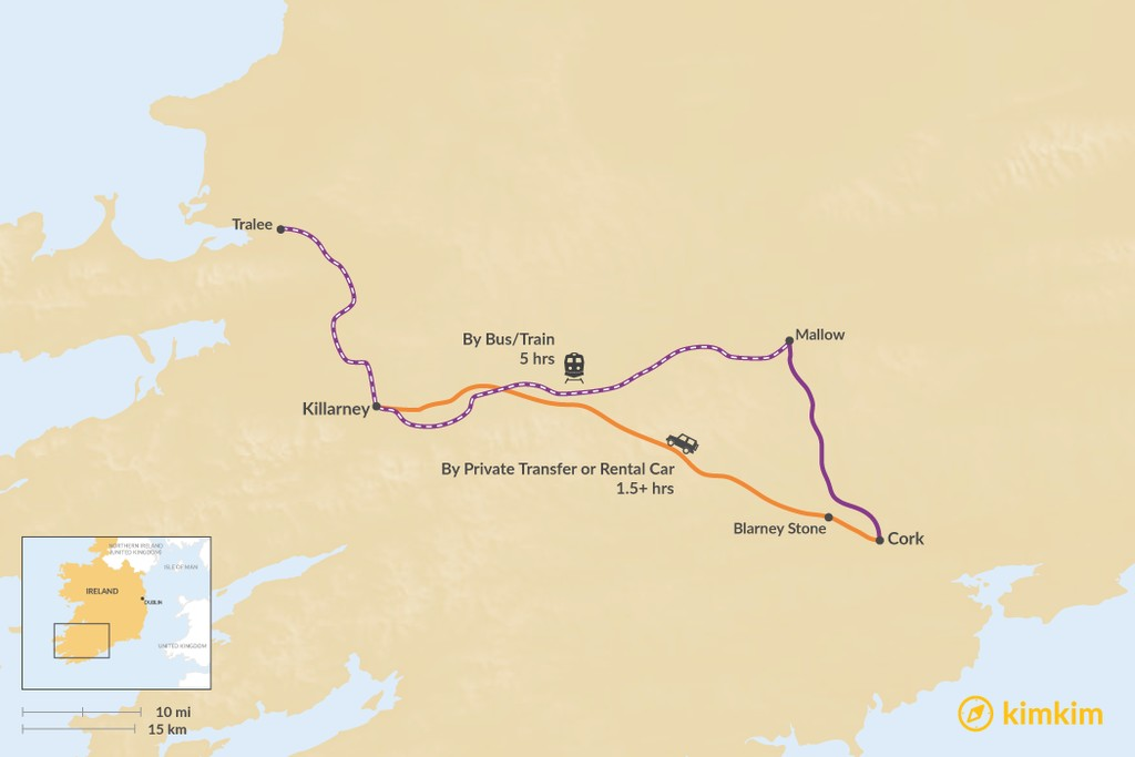Map of How to Get from County Cork to County Kerry