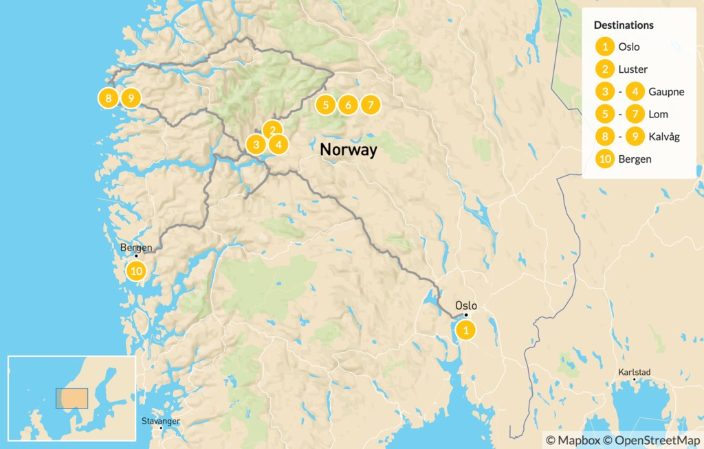 Map of Norway's Fjords, Farms & Mountains - 11 Days