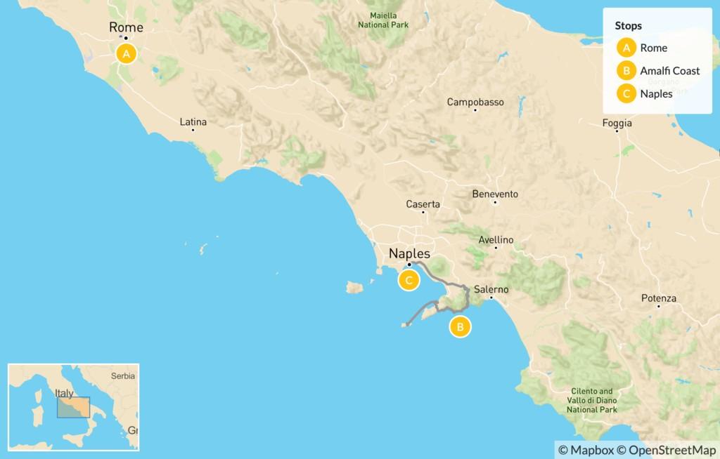 Map of Rome & the Amalfi Coast - 9 Days