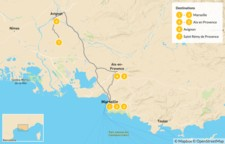 Map thumbnail of Self-Drive Culture, Wine, and Food Tour of Southern France - 8 Days