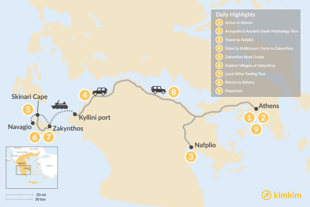 Map of Historic Peloponnese and Zakynthos - 9 Days