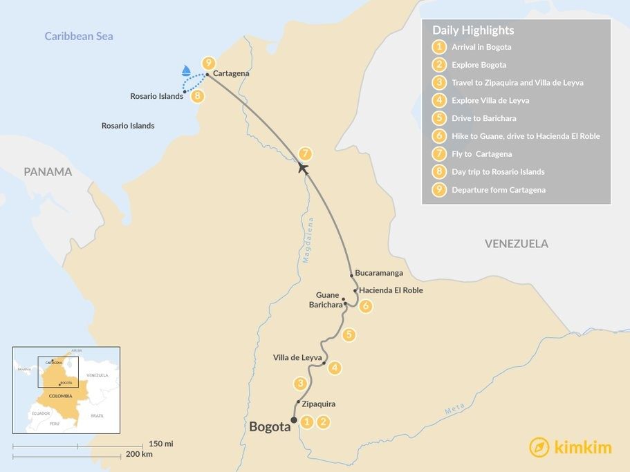 Map of Colombia's Central Andes and Coastal Tour - 9 days