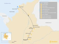 Map thumbnail of Colombia's Central Andes and Coastal Tour - 9 days