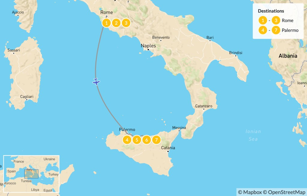 Map of Rome & Sicily Highlights - 8 Days