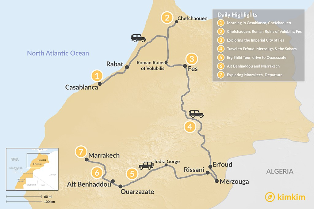 Map of A Taste of Morocco: Casablanca to Marrakech - 7 Days