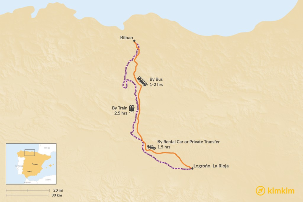 Map of How to Get from Bilbao to La Rioja