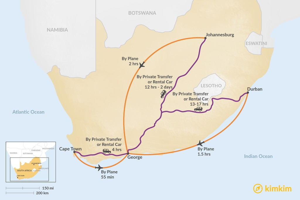Map of How to Get to the Garden Route