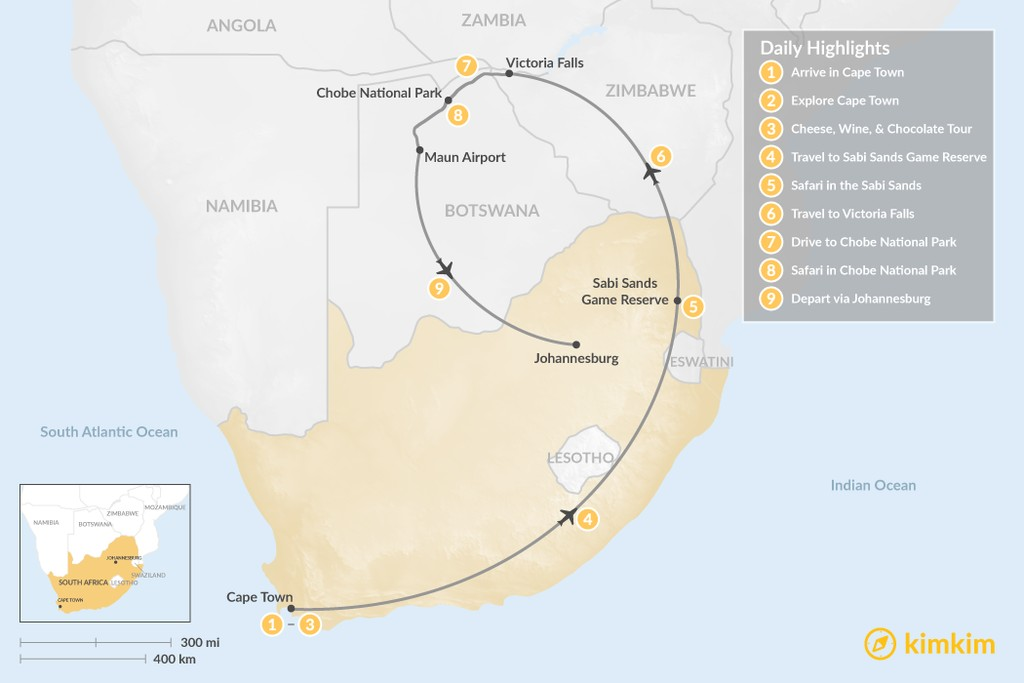 Map of Southern Africa Safari: Cape Town, Victoria Falls, Chobe National Park, & More - 9 Days
