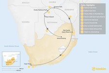 Map thumbnail of Southern Africa Safari: Cape Town, Victoria Falls, Chobe National Park, & More - 9 Days